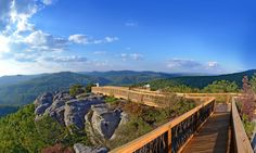 Chimney Rocks Skywalk at McCloud Mountain, along Justin P. Wilson Cumberland Trail State Park (http://www.tnvacation.com/vendors/justin_p_wilson_cumberland_trail_state_park/) in Campbell County. Sounds like you need to make reservations.