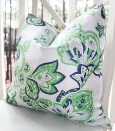decorative piillow cover 20x20 kelly green navy blue white vintage modern floral trellis pillow pillows for bedbed