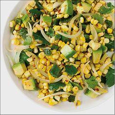 Grilled Corn Poblano Salad with Chipotle Vinaigrette Recipe