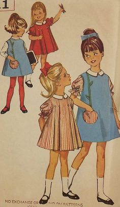 Vintage 60's Sewing Pattern, Girls' One Piece Dress and Jumper, Size 5