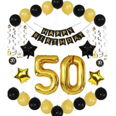 50th BIRTHDAY DECORATIONS For Man Balloons Banner Ideas Decor 50 Year Old Men Woman Him Her 38