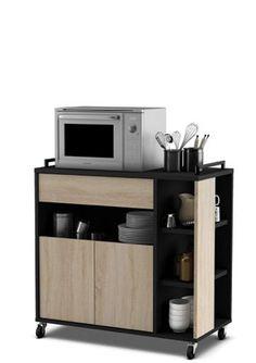 Practimac mueble auxiliar para microondas king 2 puertas for Mueble auxiliar microondas