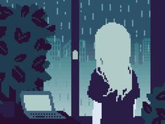 gif computer girl sad anime rain pixel art pixel pixels