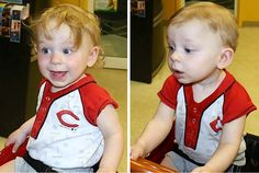 This red head won us over with his adorable smile during his first haircut. Boy's First Haircut at Junior Cuts (kids hair salon) in Milford, OH (Cincinnati)