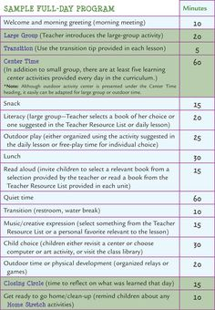 Learn Every Day: The Preschool Curriculum - Sample Schedules                                                                                                                                                                                 More