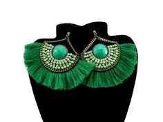 Brinco Selena Leque Tassel Verde