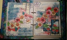 Journal spread using recycled items