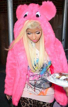 OMG Nicki Minaj, there's a big furry beast right behind you! Wait, never mind...