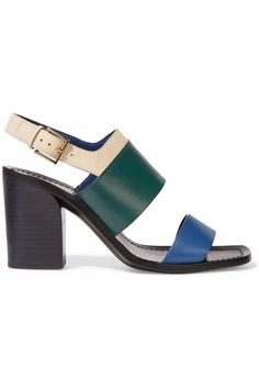 TORY BURCH Essex Color-Block Leather Sandals. #toryburch #shoes #sandals