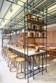 At Opso in London the Greek architects used Kavala marble as table top. Petite Passport.