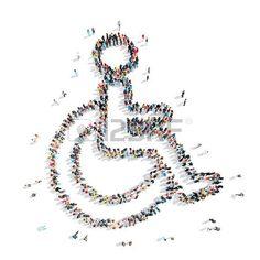 discapacidad: Un grupo de personas en la forma de una discapacidad, la medicina, de la historieta aislado en un fondo blanco. Foto de archivo