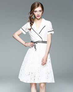 #AdoreWe #VIPme A-Line Dresses❤️Designer wei guo yue White Tie Waist V Neck Fashion Slim Fit Midi Dress - AdoreWe.com