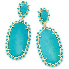 Kendra Scott Parsons Statement Earrings in Turquoise (5,440 INR) ❤ liked on Polyvore featuring jewelry, earrings, multi colored earrings, turquoise jewelry, colorful earrings, kendra scott earrings and turquoise earrings