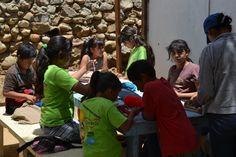 Kids learning the art of needlework at Campamento Corazon! #nonprofit #charity #corazon