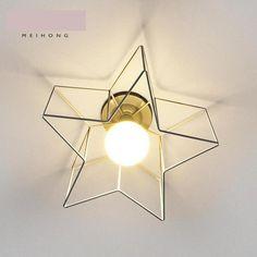 62.00$  Buy here - http://ali4mw.worldwells.pw/go.php?t=32661494943 - Children Room Iron Pentagram ceiling Lamp Lamparas De Techo kitchen dining Modern Nordic Bedroom Ceiling E27 Led porch Lighting