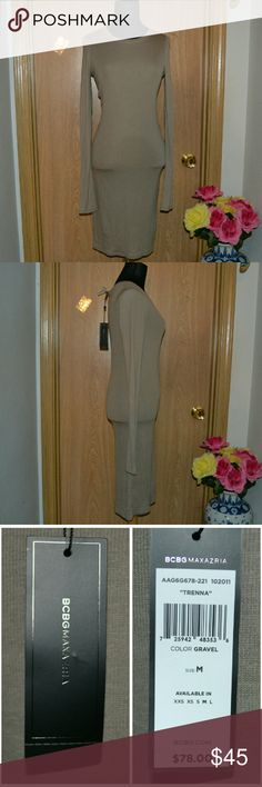 """NEW! BCBGMAXAZRIA basic long dress Smoke free home! Bundle & Save!   I ship Monday -  Saturday!    Brand new! With tags attached!   A gorgeous .""""trenna"""" dress by the brand BCBGMAXAZRIA in the color grovel size medium. Perfect for fall, school, work or church!   Materials :  96% loycell  4% spandex  Machine wash. BCBGMaxAzria Dresses Long Sleeve"""
