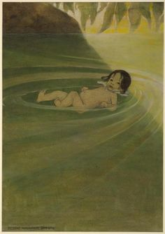 He felt how comfortable it was to have nothing on him but himself - The Water-Babies by Charles Kingsley, 1916