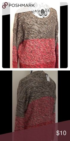NWT Tan & Pink High Low Sweater NEW WITH TAGS! Tan and pink high low sweater by Rue 21. Roomy fit. Size L Rue21 Sweaters Crew & Scoop Necks