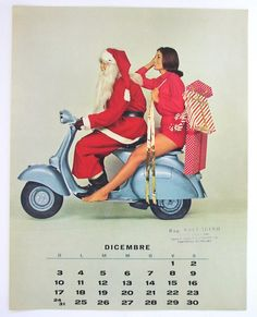 1961 VESPA calendar page sexy Pin-up Girl with by scooterotica