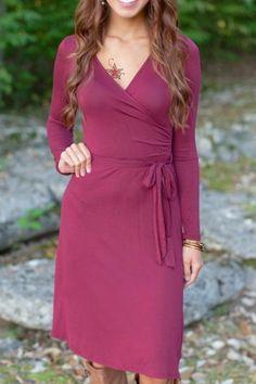 Solid Color V Neck Long Sleeves Dress
