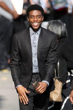 Chadwick Boseman arrives for an appearance on Kimmel in La, April 28, 2016