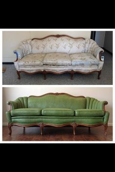 Before and after of this painted couch! #green #cheap #amazing Painting Fabric Furniture, Diy Furniture Redo, Green Furniture, Diy Furniture Projects, Furniture Sale, Repurposed Furniture, Cheap Furniture, Furniture Logo, Refurbished Furniture