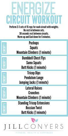 Energize Circuit Workout jillconyers.com #fitnesshealthhappiness @jillconyers #healthyliving
