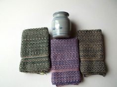 Dish Cloths Knit in Cotton in Steel/Pecan by TheNeedleHouse