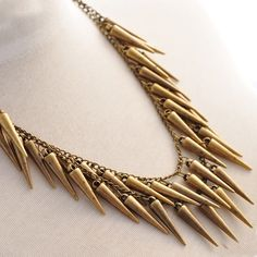 SALE! Punk style vintage brass multi chain with long spikes charms collar necklace.