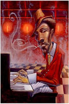 Jazz in Red Minor - giclee on canvas - Justin Bua Afro Art, Music Artwork, Art Music, African American Art, African Art, Art Black Love, Art Bleu, Arte Hip Hop, Jazz Art