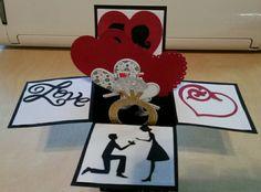 Pop up engagement card using sweetheart cricut cartridge