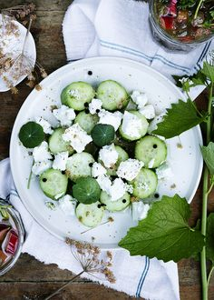 Cucumber and goat cheese. Danish summertime garden party. Photo Line ...