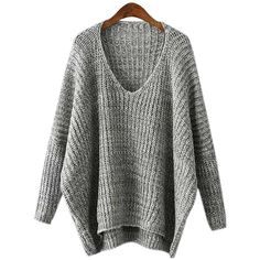 Yoins Grey V Neck Irregular Jumper-Grey  One Size ($25) ❤ liked on Polyvore featuring tops, sweaters, grey, sweaters & cardigans, gray v neck sweater, gray jumper, gray sweater, grey jumper and v neck sweater
