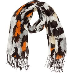 Pre-owned Diane von Furstenberg Abstract Print Scarf ($75) ❤ liked on Polyvore featuring accessories, scarves, patterned scarves, brown shawl, print scarves, brown scarves and diane von furstenberg scarves