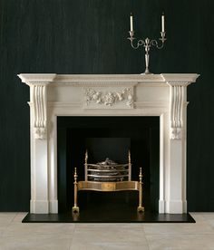 Identifying the right Georgian fireplace for your home | Georgian & Regency Interiors ~ A fine example of mid 18th Century design with robustly carved acanthus corbels with floral centre tablet with Statuary ingrounds.