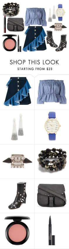 """Jeans skirt Attire"" by hillarymaguire ❤ liked on Polyvore featuring House of Holland, Dondup, Oscar de la Renta, Kate Spade, Joomi Lim, Hipchik, Maison Margiela, Rebecca Minkoff, MAC Cosmetics and Smashbox"