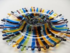 Multi colored striped fused glass chip/dip by sherrylee16 on Etsy, $50.00