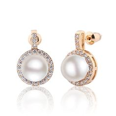 GULICX Gold Plated Base Ivory Color Simulated Ball Pearl CZ Pierced Drop Dangle Earrings for Women -- Be sure to check out this awesome product. Note:It is Affiliate Link to Amazon.