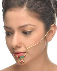 Golden Nath with Pink Floral Drop #Jewelry #Fashion #New #Stones #Studded #Ethnic #Indian #Traditional