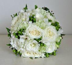 White roses & hypericum berries.  Bridal bouquet inspiration.