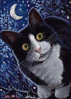 Aceo Original Tuxedo Cat painting Moon Star Miniature Feline Art by Ch.Schulte