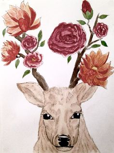 #deer#flower#roses#drawing#acrylic