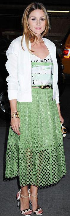 White print tank top, green lace skirt