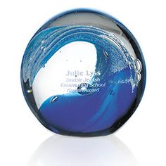 This Wave Art Glass Sphere Custom Award is a beautiful round sphere with a unique blue wave that looks simply spectacular on an executive desktop or mantle. Corporate Awards, Corporate Gifts, Glass Awards, Custom Awards, Globe Art, Wave Art, Employee Gifts, Glass Boxes, Screen Design