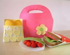 DIY Felt Spring Handbag(Black cool,Pink Spring),breakfast,tomatoes--PDF Pattern via Email--F18