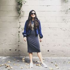 Crystal rocking her T-Shirt Dress with a classic denim and flats to keep up with her wherever she goes!