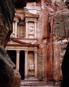Carved buildings into stone cliffs. on the silk road. Turkey. Petra.