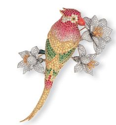 #Floral #Parrot #Diamond #Brooch #Pins #Jewellery