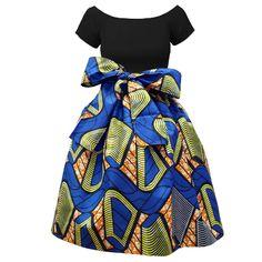 Chioma African Print High Waist Full Skirt (Blue/YellowOrange) – D'IYANU