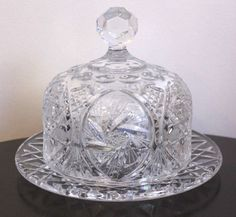 Vintage Clear Etched Cut Glass Covered Cheese Butter Dish